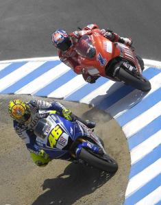 Rossi overtaking Stoner on the Laguna Corkscrew, one of the most iconic Grand Prix photos