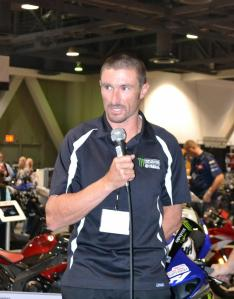 Josh Hayes was at the International Motorcycle Show when he announced his contract renewal.
