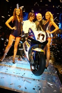 Karel Abraham was on hand to show his new bike to the world.
