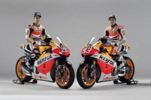 Repsol Honda pair Dani Pedrosa and Marc Marquez on their 2013 bikes.