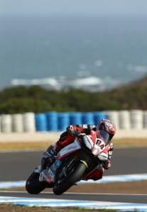 Fabrizio on his RSV4 was the fastest man today down under.