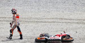 Marquez walks away from his first crash in MotoGP.