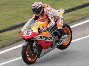 Marc Marquez wasn't afraid to wrestle the RC213V today.