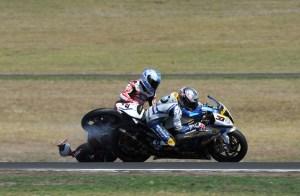 Checa's crash with Melandri during race one in Phillip Island.