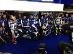 The 2013 Factory Yamaha MotoGP bikes.