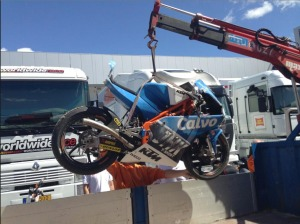 The reamins of Vinales' bike after his third day crash at Jerez.