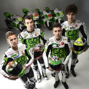 Go&Fun Gresini riders in front of their 2013 machines.