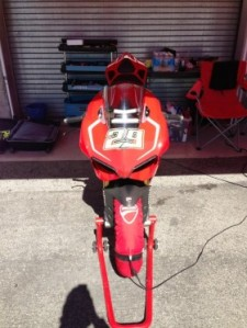 Iannone's special Panigale that he is learning the Monteray track on.