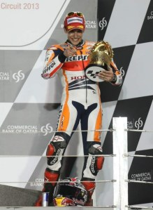 Marc Marquez claimed third position in his first MotoGP race.