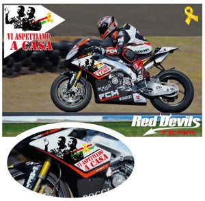 Michel Fabrizio will be running with a special message on his RSV4 this weekend in Aragon.