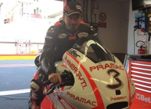 Biaggi in the Pramac box prior to going on track at Mugello.