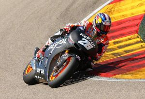 Dani Pedrosa is action on the Honda 2014 RC213V.