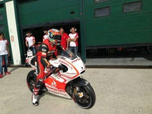 Alex de Angelis getting his first taste of the Ducati GP13.