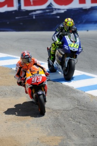 Marquez putting the already legendary pass on Rossi at the corkscrew.